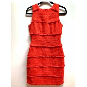 J Crew 2 Tiered Fringe Red Tweed Sleeveless Dress